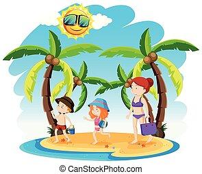 Ein Familienurlaub am Strand.