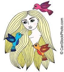 Ein farbenfrohes Portrait eines schönen Mädchens mit drei kleinen Vögeln