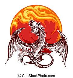 Ein feuerfressendes Drachensymbol