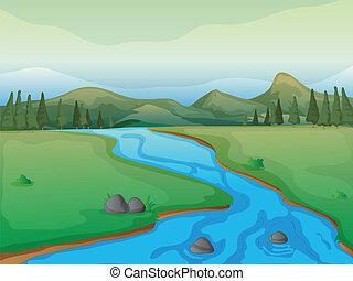 Ein Fluss, ein Wald und Berge