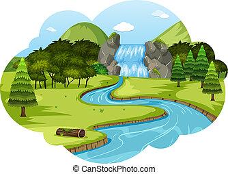 Ein Fluss in der Naturlandschaft.