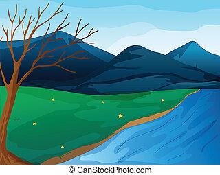 Ein Fluss und Berge.