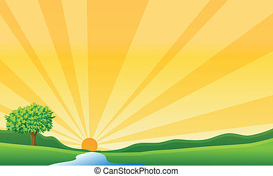 Ein Fluss und eine Sonne