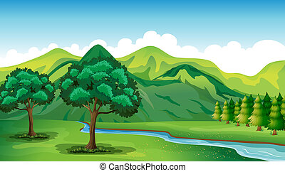 Ein Fluss und eine wunderschöne Landschaft