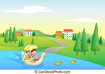 Ein Fluss und Kinder