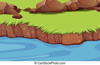 Ein Flussufer Hintergrund.