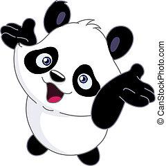 Ein fröhlicher Baby-Panda
