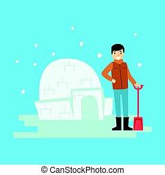 Ein fröhlicher Junge baut eine Schneeburg. Winteraktivität bunte Zeichenvektor Illustration