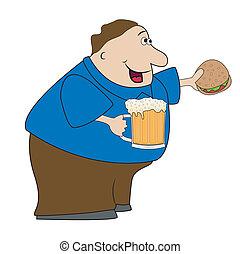Ein fröhlicher Mann mit Bier.