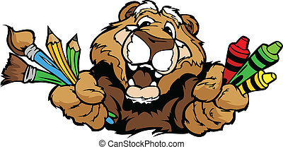 Ein frohes Vorschul-Cougar-Maskott-Karikatur-Vektorbild