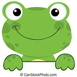 Ein Frosch lächelt über ein Schild