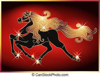 Ein galoppierendes Pferd mit einer goldenen Mähne