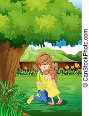 Ein Garten mit Mutter und Kind.