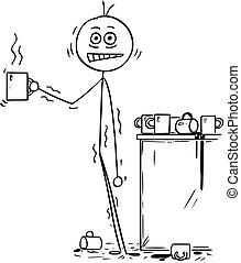 Ein Geschäftsmann überdosiert von Kaffee