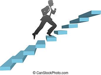 Ein Geschäftsmann, der Treppen hochläuft