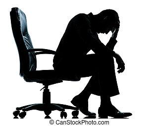 Ein Geschäftsmann erschöpfte verzweifelte Silhouette
