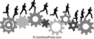 Ein Geschäftsmann in Eile fährt mit Industriemaschinengeräten