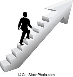Ein Geschäftsmann klettert die Treppe hoch.