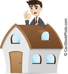 Ein Geschäftsmann mit Haus.