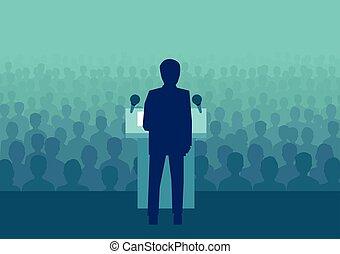 Ein Geschäftsmann oder Politiker, der mit vielen Leuten spricht.