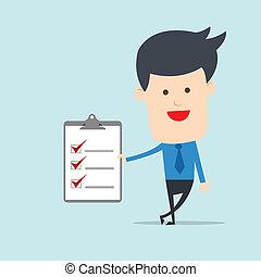 Ein Geschäftsmann zeigt Checkliste.
