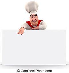 Ein glücklicher Koch, der auf das Schild zeigt