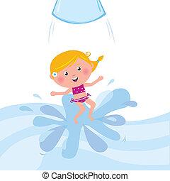 Ein glücklicher lächelnder Junge springt aus dem Wasserrohr / Wasserpark