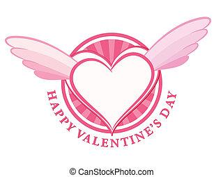 Ein glücklicher Valentinstagsstempel mit Herz und Flügeln