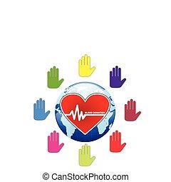 Ein globales menschliches Blutspendekonzept, das in Vektoren illustriert