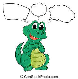 Ein grüner Dinosaurier mit leeren Anrufen