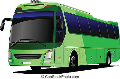 Ein grüner Tourist. Coach. Vector il
