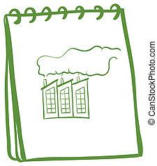 Ein grünes Notizbuch mit einem Bild einer Fabrik