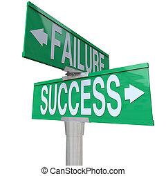 Ein grünes zweiseitiges Schild, das auf Erfolg und Misserfolg hindeutet, das symbolisiert, an einem Scheideweg zu stehen und zwischen guten und schlechten Ergebnissen oder Schicksal zu entscheiden