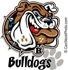 Ein grinsendes Bulldogge-Gesicht
