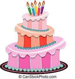 Ein großer Geburtstagskuchen mit brennenden Kerzen