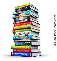 Ein großer Stapel von farbigen Hardcover-Büchern.