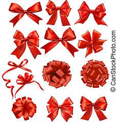 Ein großes Paket von roten Geschenken verbeugt sich mit Schleifen Vector