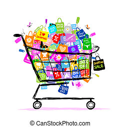 Ein großes Verkaufskonzept mit Einkaufstüten für dein Design