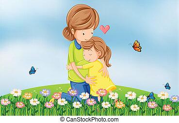 Ein Hügel mit einer Mutter, die ihr Kind tröstet.