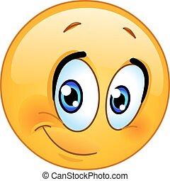 Ein halbes Lächeln Emoticon.