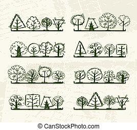 Ein Haufen Bäume auf den Regalen für dein Design