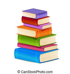 Ein Haufen bunter Bücher.