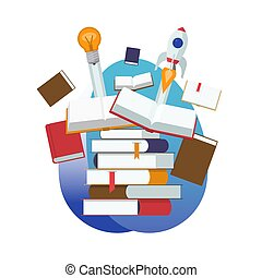 Ein Haufen offener und geschlossener Bücher. Beginn einer neuen Idee durch Lernen, Bildung, Wissen. Flat Design Vektorgrafik
