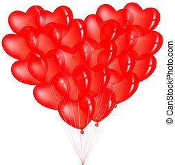 Ein Haufen roter Herzballons