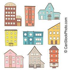 Ein Haufen Zeichentrickhäuser. Vector Zeichnung von Retro- und modernen Gebäuden auf weiß
