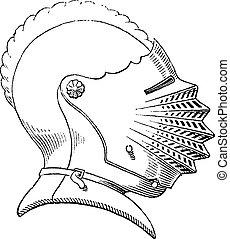 Ein Helm aus dem 15. Jahrhundert oder eine alte Gravur