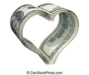 Ein Herz aus wenigen Dollarscheinen