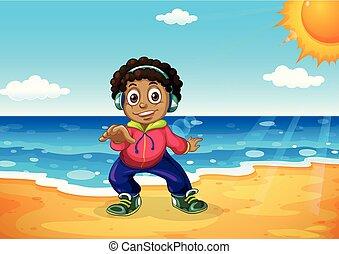 Ein Junge am Strand.