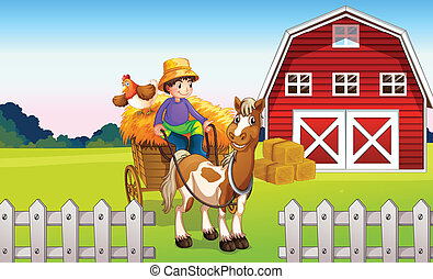Ein Junge auf der Farm.
