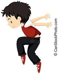 Ein Junge, der allein Breakdance macht.